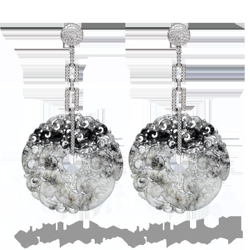 Black jade, 18K white gold and diamond earrings