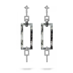 Black jade, 18K white gold and diamond earrings